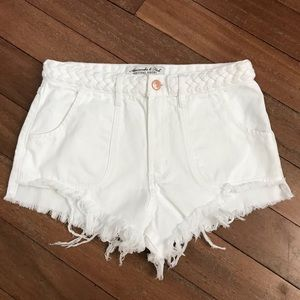 Abercrombie & Fitch Festival White Jean Shorts